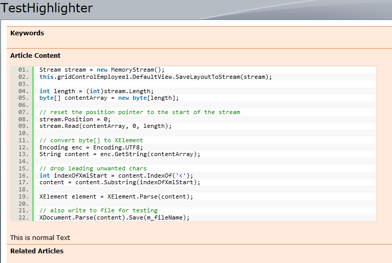 Code higlighted with SyntaxHighlighter in SharePoint
