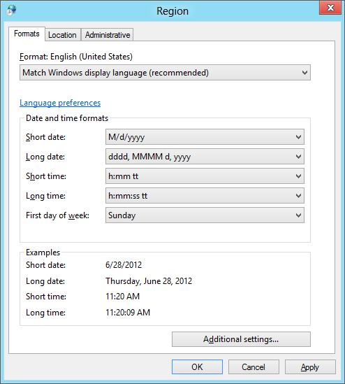 Windows 8 pseudo locale region