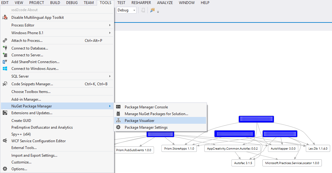 VS 2013 NuGet package dependencies